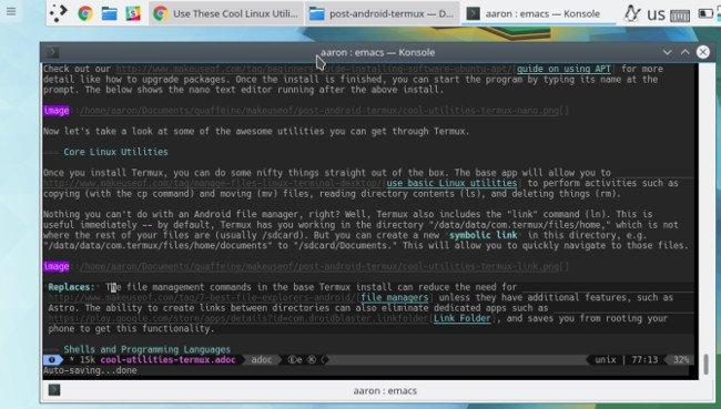 Emacs chạy trên linux
