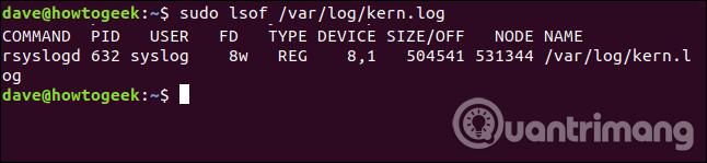 Đầu ra tiến tình mở file kern.log
