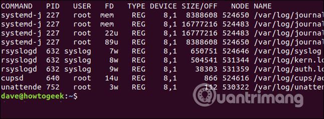 Các file mở trong thư mục /var/log/