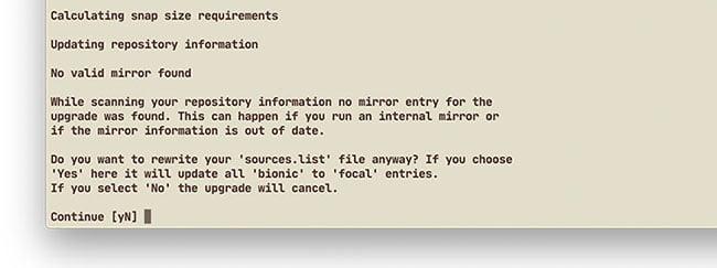 Cập nhật danh sách kho lưu trữ gói lên Ubuntu 20.04