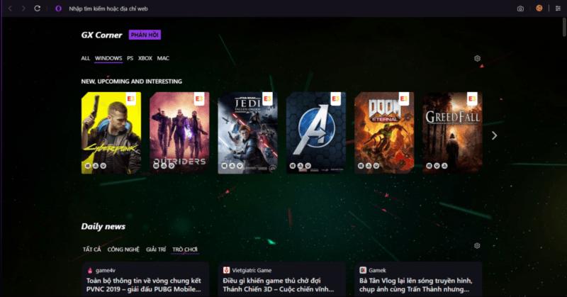 Opera GX : Trình duyệt siêu đẳng dành riêng cho giới game thủ !
